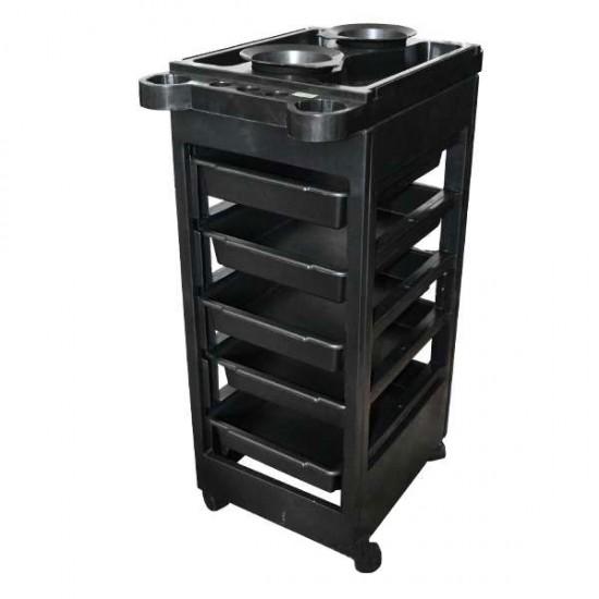 Фризьорска количка пластмаса черна 5 чекмеджета