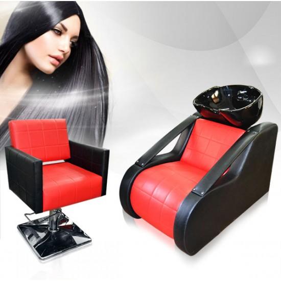 Комплект с оборудване за фризьорски салон в червено и черно