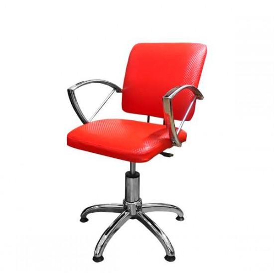 Фризьорски стол в червен цвят