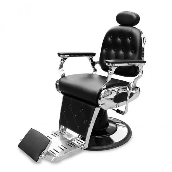 Черен бръснарски стол със сребристи детайли IM229