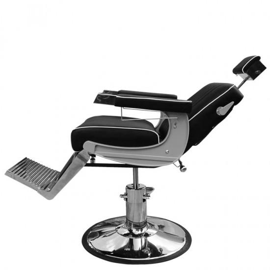 Черен бръснарски стол с бял кант IM227