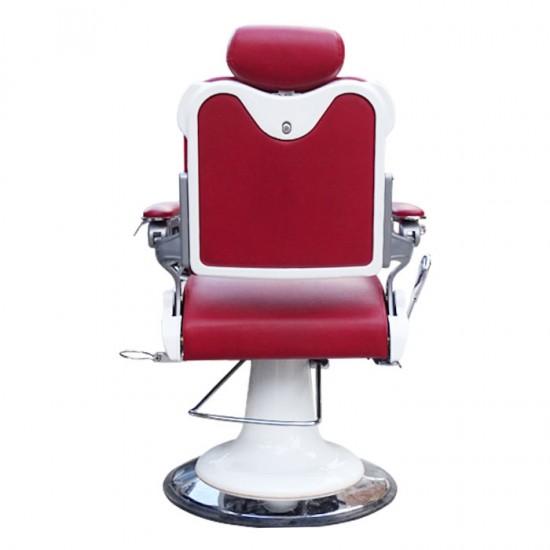 Червен бръснарски стол с бели детайли IM235