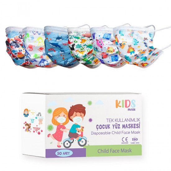 Детски предпазни маски за еднократна употреба с картинки – 50 броя