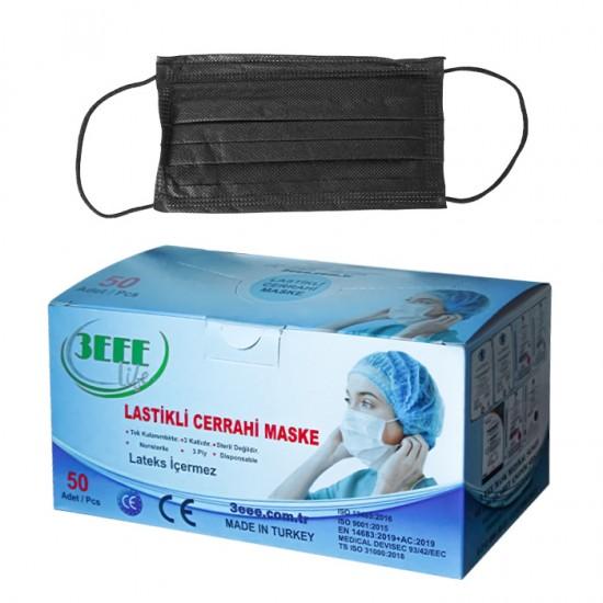 Трислойни предпазни маски за еднократна употреба 3EEE, 50 бр - Черни
