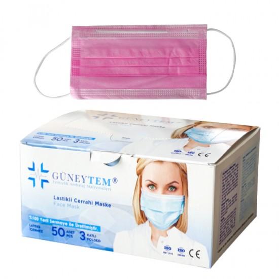 Трислойни предпазни маски за еднократна употреба Güneytem, 50 бр.