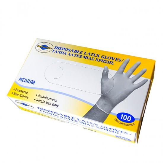 Еднократни бели предпазни ръкавици от латекс, 100 броя