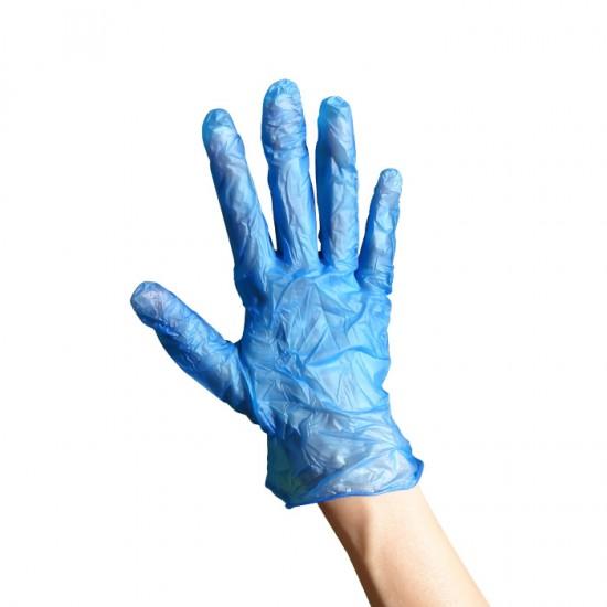 Сини винилови ръкавици в опаковка от 100 броя