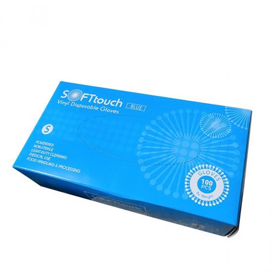 Soft touch предпазни ръкавици от винил с пудра 100 броя
