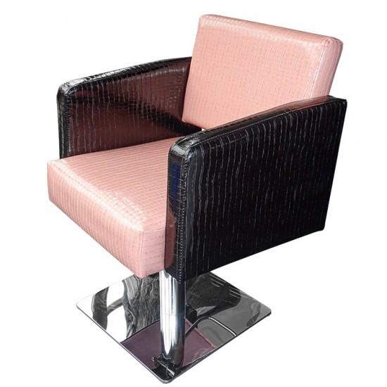 Фризьорски стол М90, Еко крокодилска кожа, Розово-черен