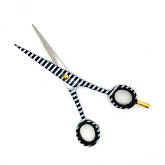 Комплект фризьорски ножици с черно-бял дизайн